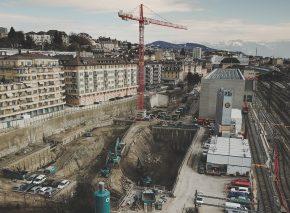 Fortschritt der Aushubarbeiten auf der Baustelle Elysée – Mudac